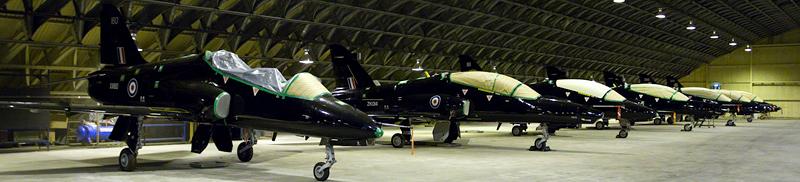 Hawk T1 and Hawk T2 in storage at RAF Shawbury