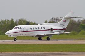 HS-125 CC3 ZD703 32 Sqn departing
