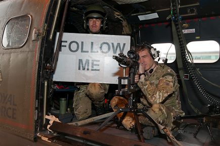 RAF Regiment Sniper with sign